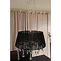 CRYSTAL CEILING PENDENT CHANDELIER BLACK SHADE 5C LIGHT