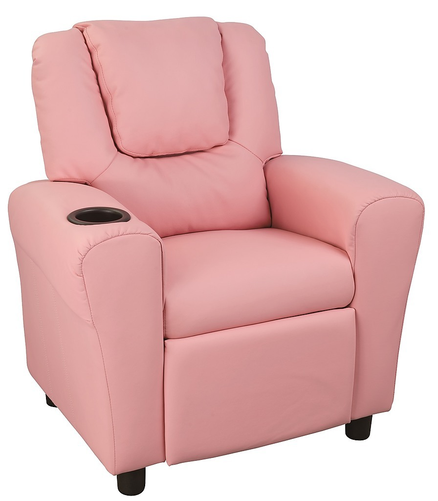 Pu leather kids recliner with drink holder furniture for Toddler leather chair