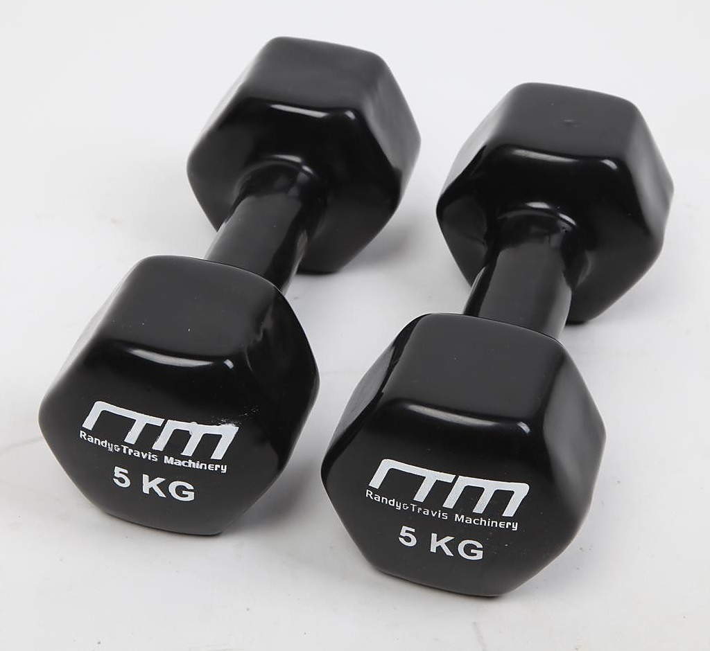 Second Hand Gym Mats Nz: 5kg Dumbbells Pair Hand Weights PVC Coated