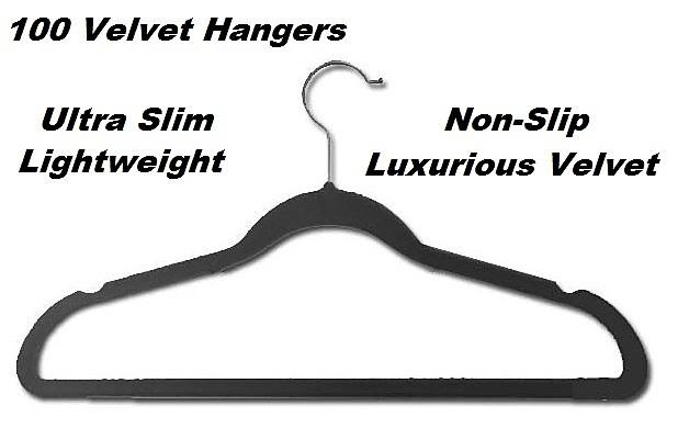 100 Black Space Saving Velvet Coat Hangers Home