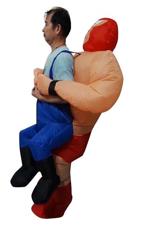 Wrestler Fancy Dress Inflatable Suit Fan Operated Costume