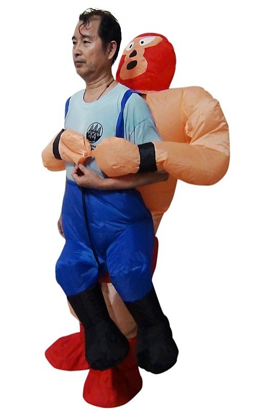 Wrestler Fancy Dress Inflatable Suit Fan Operated Costume