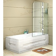 90 x 145cm Frameless Glass Bath Screen by Della Francesca