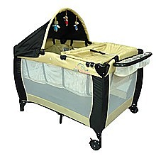 6in1 F&F Portable Baby Portacot Travel Cot - BEIGE